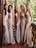 Cheap Mermaid Sleeveless Backless Long Bridesmaid Dresses