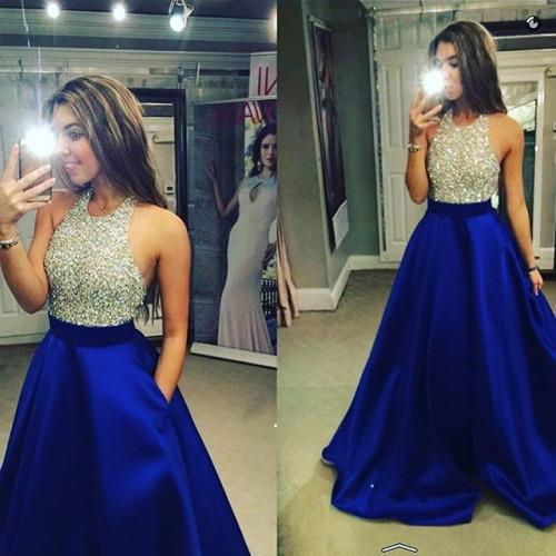 New Arrival Crew Neck Gold Sequins Black Satin Backless Sleeveless Prom Dresses JS440