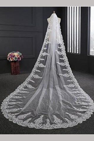 Gorgeous One-Tier Cathedral Bridal Veils With Applique&Rhinestones SME0017