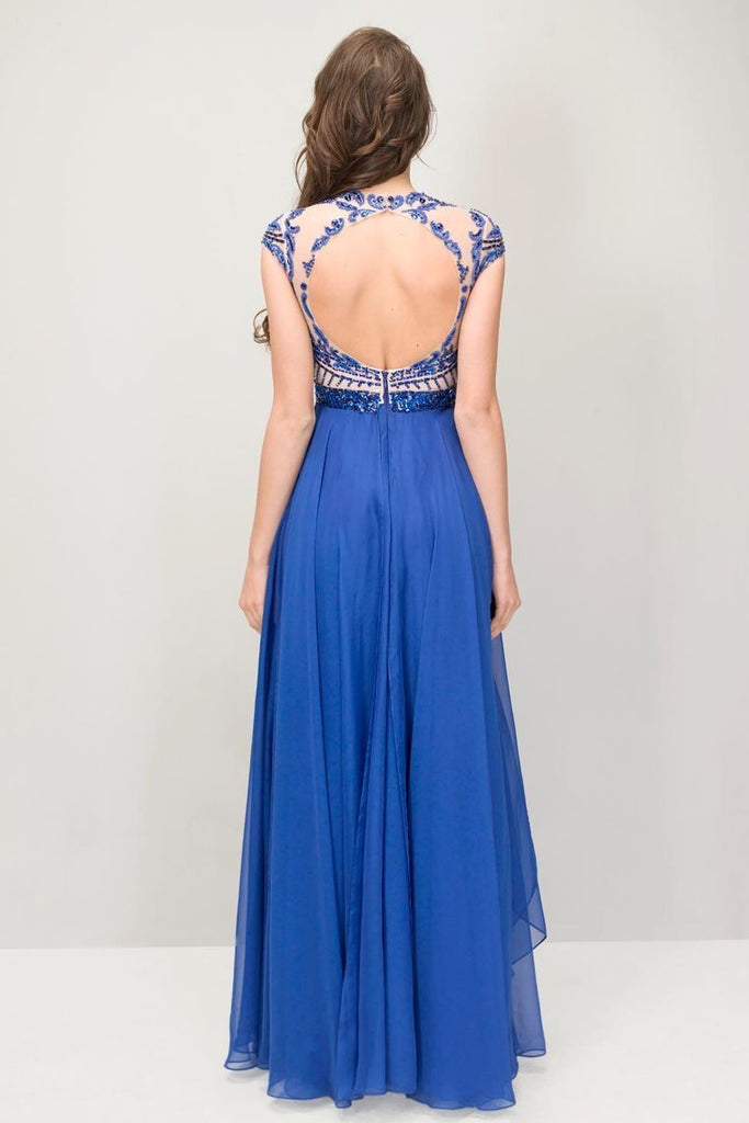 Scoop Prom Dresses Chiffon A Line With Beading Cap Sleeves