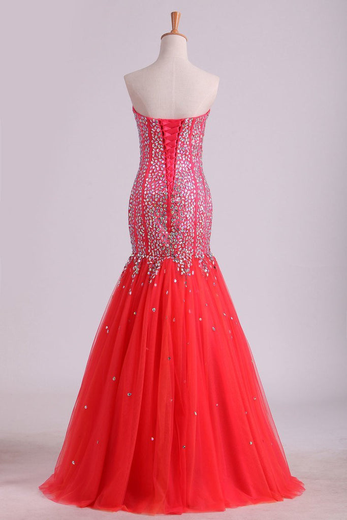 Sweetheart Prom Dresses Beaded Bodice Floor Length Tulle Lace