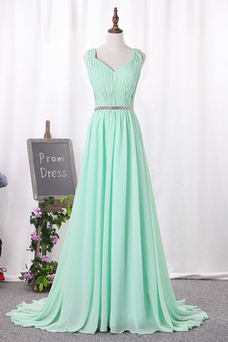V Neck A Line Ruched Bodice Beaded Waistline Chiffon Bridesmaid Dresses Sweep