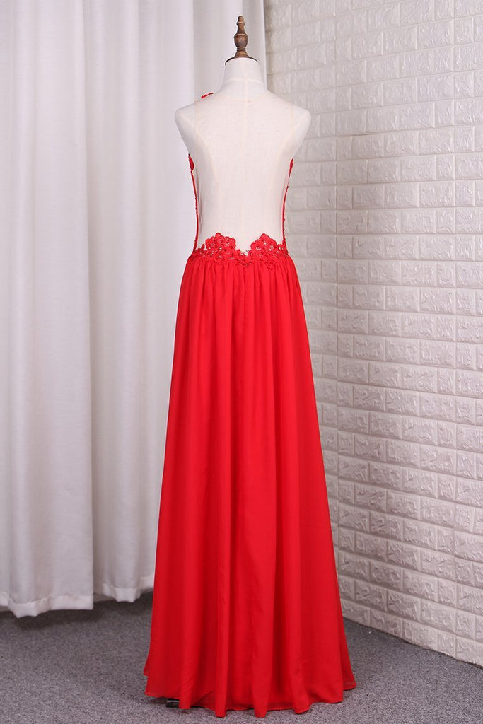 2021 A Line Chiffon Scoop Prom Dresses With Applique And