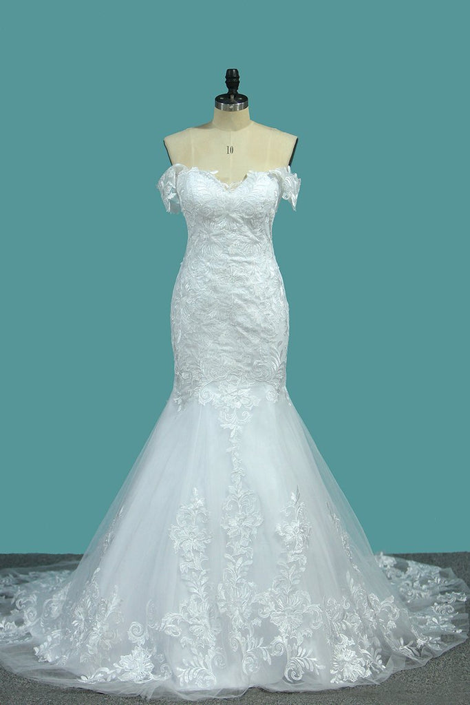 2020 Mermaid Off The Shoulder With Applique Court Train Wedding