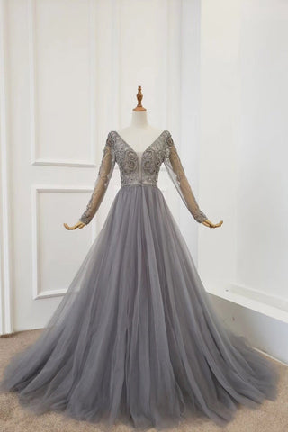 A Line Long Sleeves V Neck Gray Tulle Prom Dresses with Beading, Evening Dress SME15549