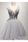 V Neck Tulle Appliqued Homecoming Dresses Sweetheart Beaded Shape Short Prom