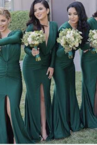 2019 V Neck Long Sleeves Mermaid Bridesmaid Dresses With