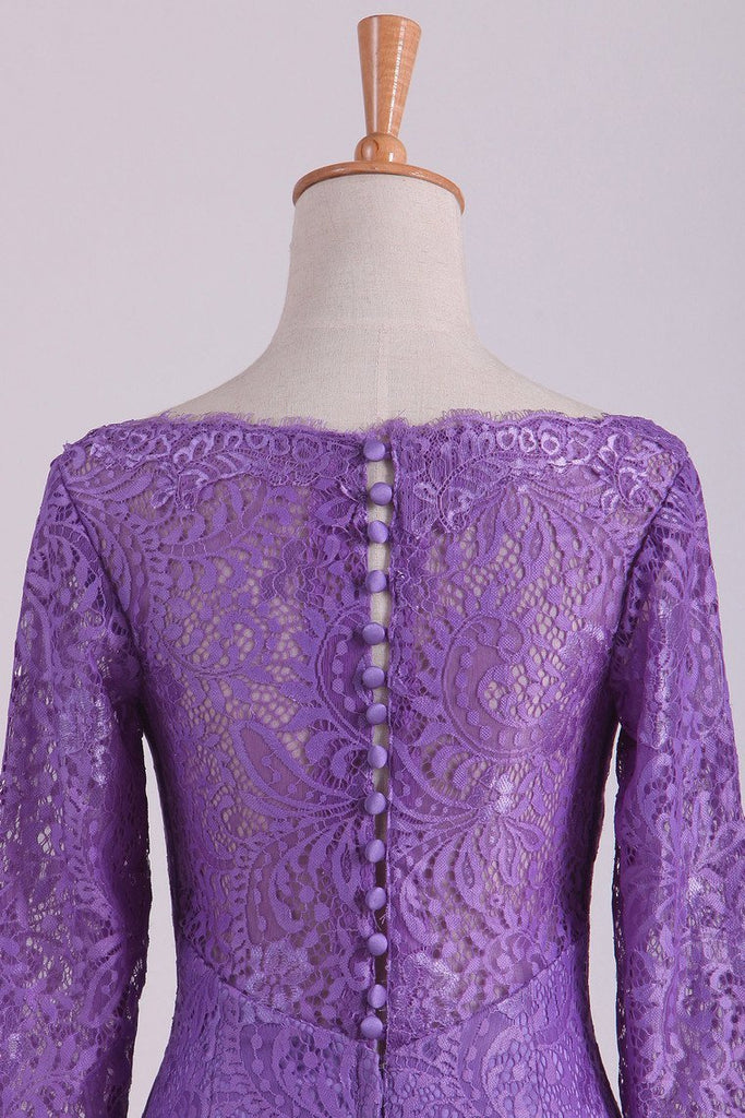 Purple Mother Of The Bride Dresses V Neck 3/4 Length Sleeve Mermaid Lace Floor