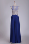 Prom Dresses Scoop With Beads And Applique A Line Floor Length