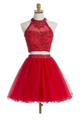 Two-piece Scoop Short Red Beaded Homecoming Dress with Appliques Sequins JS485