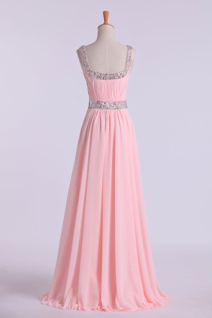 Prom Dresses A-Line Floor Length Straps Chiffon