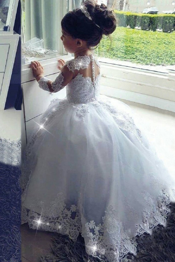 2020 Ball Gown Flower Girl Dresses Scoop Long Sleeves Tulle With