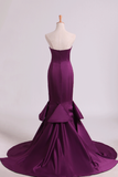 2019 Notched Neckline Prom Dresses Satin Mermaid/Trumpet Grape