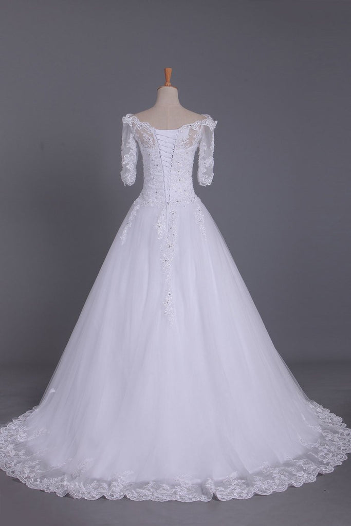 2021 Mid-Length Sleeves Boat Neck Wedding Dresses A Line Tulle With Applique And Beads