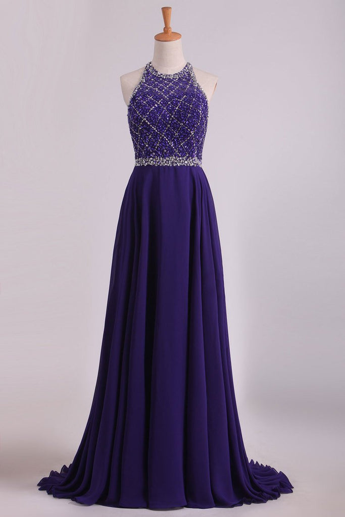 2021 Chiffon & Tulle Prom Dresses Halter Beaded Bodice Sweep Train Open Back