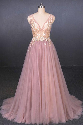 V Neck Sleeveless Tulle Prom Dress With Appliques, A Line Tulle Evening