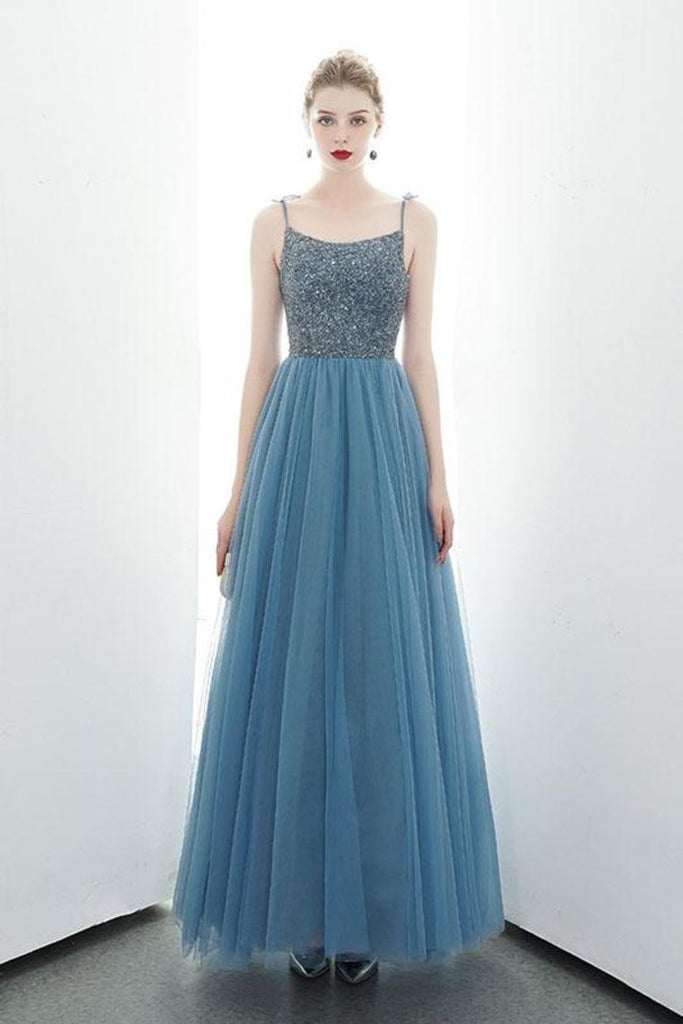 A-Line Spaghetti Straps Lace Up Back Beading Tulle Long Prom