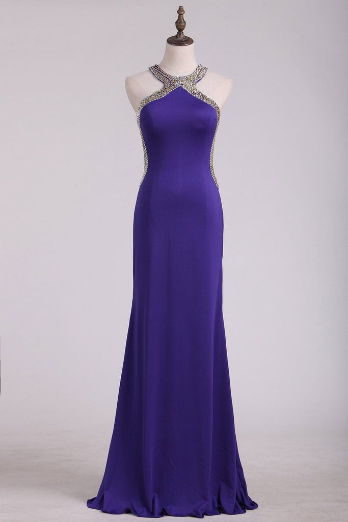 2020 Evening Dresses Scoop Open Back With Beads Floor Length Spandex
