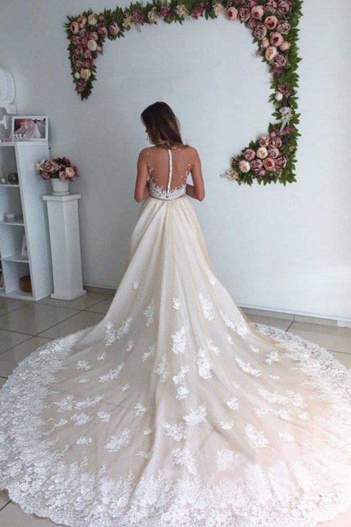 Tulle Wedding Dresses Mermaid Scoop With Applique Chapel Train
