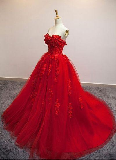 Red Ball Gown Tulle Strapless Generous Floral Fashion Quinceanera Prom Dresses JS548