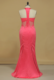 Scoop Mermaid Prom Dresses Satin Floor Length Zipper