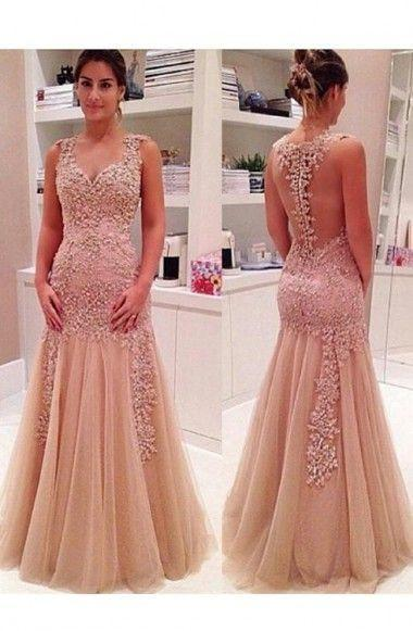 Sexy Mermaid V Neck Champagne Backless Long Prom Dresses JS645