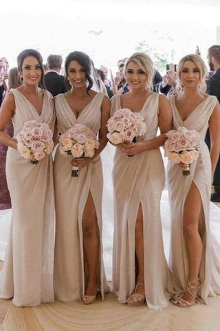 Simple V Neck Sleeveless Sheath Cheap Pleated Long Bridesmaid Dresses With