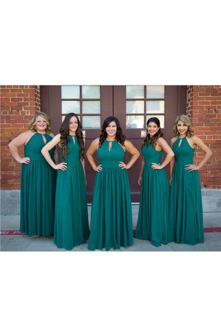 2021 Chiffon Bridesmaid Dresses Scoop With Ruffles Floor