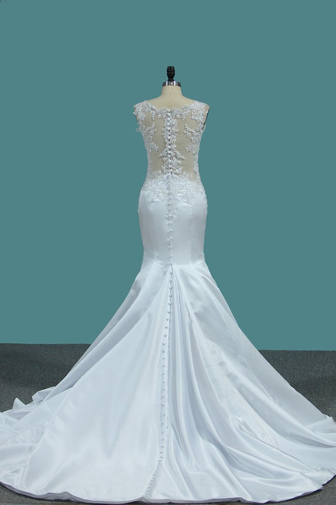 2020 Mermaid Satin V Neck Wedding Dresses With Beads And