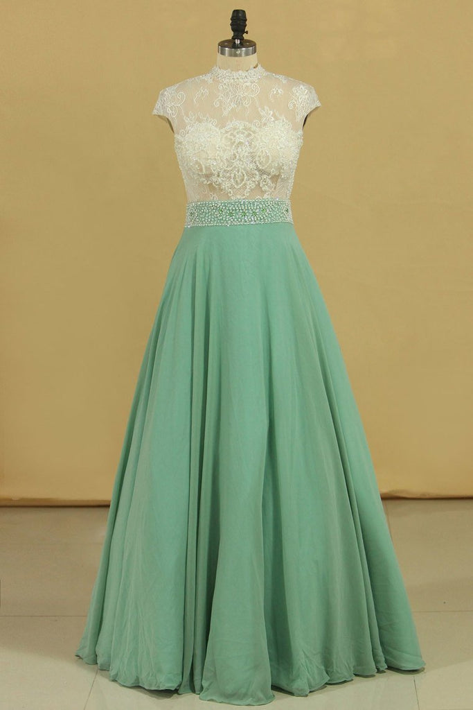 2021 High Neck A Line Chiffon With Applique Prom Dresses Floor Length