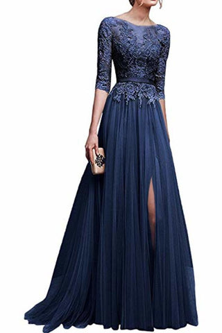 Elegant Lace Floor Length 3/4 Sleeve Tulle Waistband Evening Ball Gowns Long