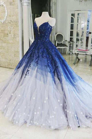 Ombre Ball Gown Royal Blue Prom Dresses With Appliques, Long V Neck Quinceanera Dresses SME15275
