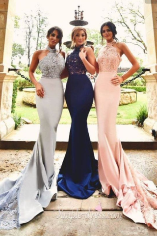 2020 Bridesmaid Dresses Halter Mermaid Satin With Applique Sweep