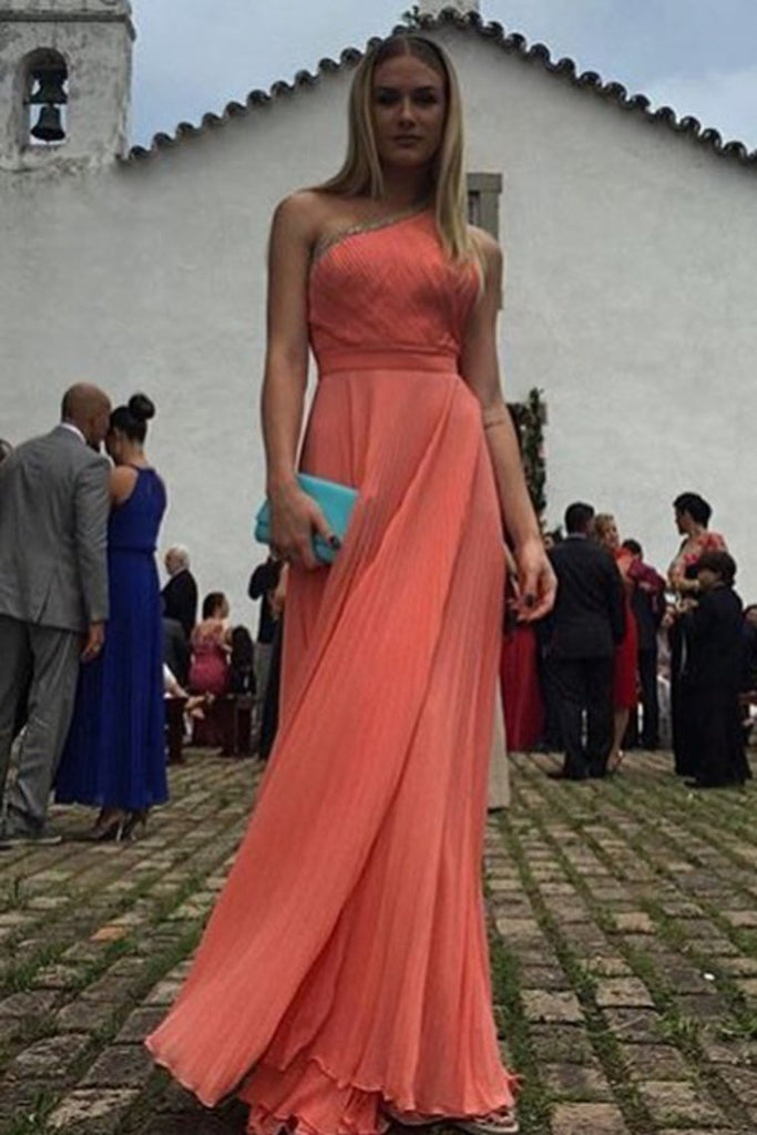 A Line Evening Dresses One Shoulder Chiffon With Beads And