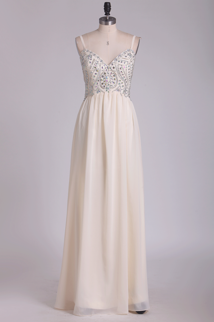 2020 A Line Spaghetti Straps Chiffon With Beading Floor Length Prom Dresses