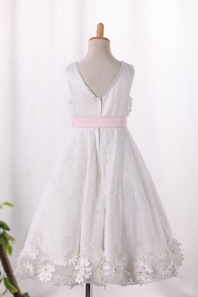 Scoop A Line Lace Flower Girl Dresses
