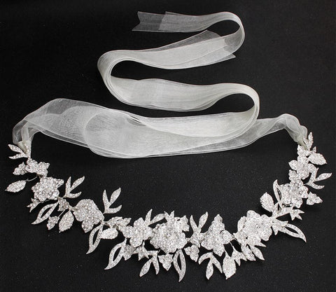 Silver Crystal Floral Bridal Sash With Ivory Ribbon #SP028