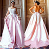 Unique Pink Backless Spaghetti Straps Sweep Train Appliques Long Prom Dresses JS363