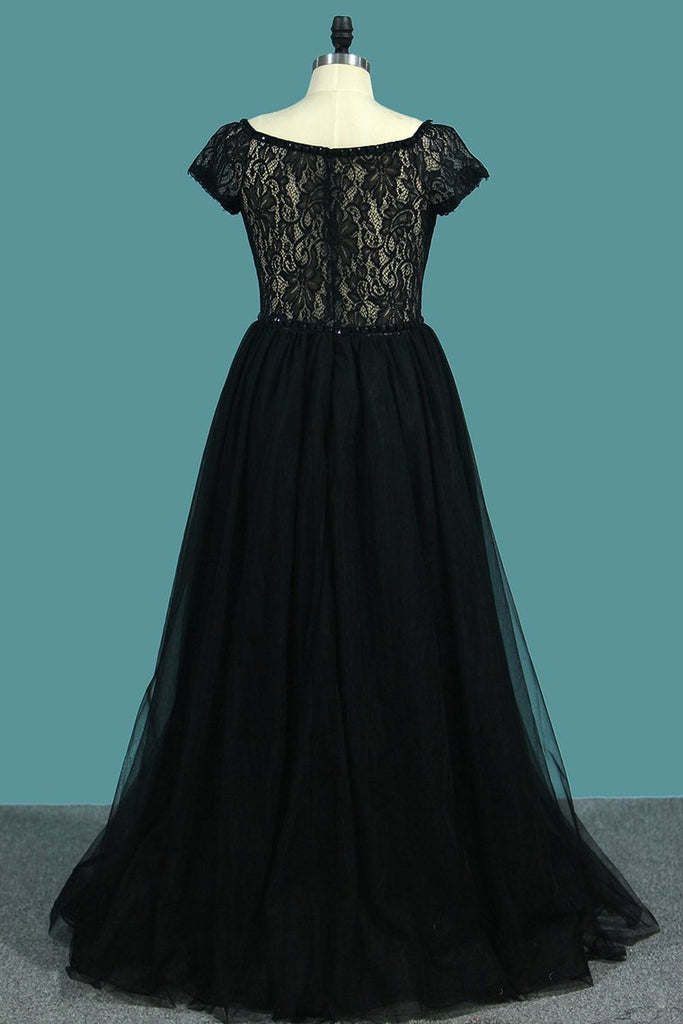 2019 V Neck Short Sleeves A Line Evening Dresses Tulle & Lace Sweep