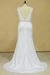 2021 Plus Size Wedding Dresses A Line V Neck Open Back With Beading Stretch Satin