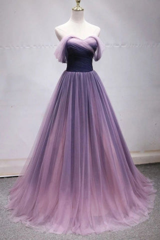 Off The Shoulder Tulle Long Prom Dresses, Princess Formal