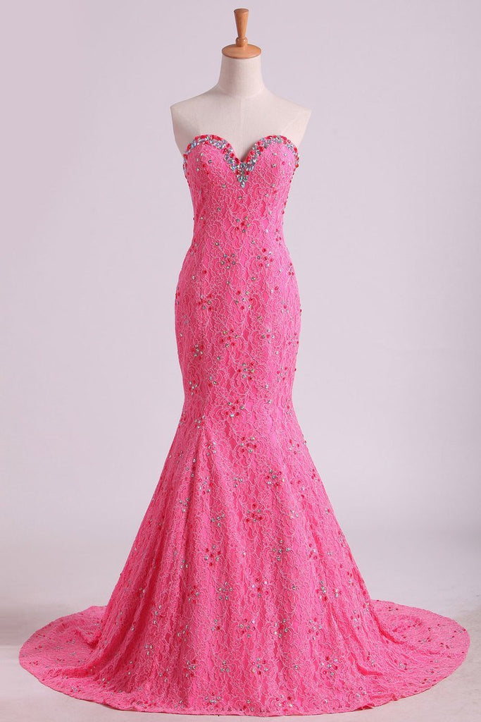 Stunning Sweetheart Mermaid Prom Dresses With Beads Floor-Length