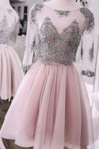 Two Pieces Short Prom Dress Cute Lace Homecoming Dress Tulle Cocktail