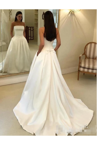 Strapless Simple Ivory Satin A Line Pleated Wedding Dresses With Court Train Bridal