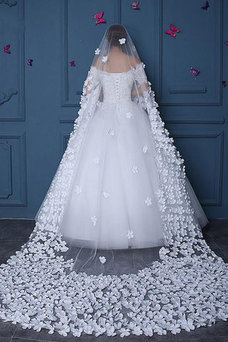 Long Tulle Ivory Wedding Veils with Hand Made Flowers, Wedding Veils SME15583