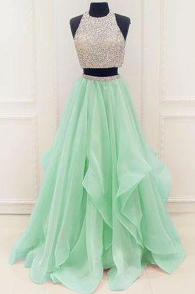 Stunning Sequins And Beaded Top Organza Ruffles Two Piece Prom Dress Prom Dresses JS172