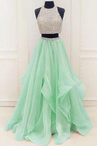 Stunning Sequins And Beaded Top Organza Ruffles Two Piece Prom Dress Prom Dresses SME172