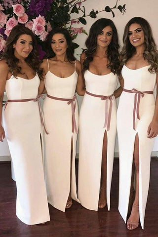Simple A Line Spaghetti Strap Column Floor Length Split Ivory Bridesmaid Dresses with Sash