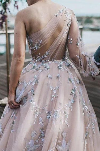 Long Sleeve One Shoulder Sparkly Prom Dress Long Evening Dress, Long Prom Dresses SME15245