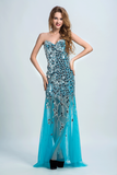 Sweetheart Prom Dresses Sheath With Beading Sweep